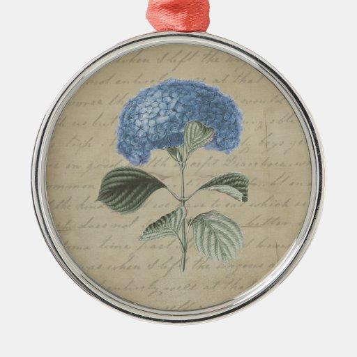 Vintage Blue Hydrangea on Antique Calligraphy Metal Ornament