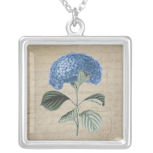 Vintage Blue Hydrangea on Old Paper Silver Plated Necklace