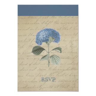Vintage Blue Hydrangea RSVP Personalized 3.5x5 Paper Invitation Card