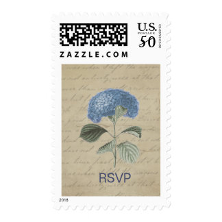Vintage Blue Hydrangea RSVP Postage