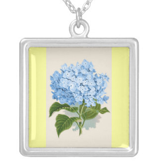 Vintage Blue Hydrangea Silver Plated Necklace