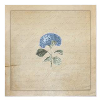 "Vintage Blue Hydrangea Wedding Ceremony Invitation 5.25"" Square Invitation Card"
