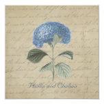 Vintage Blue Hydrangea Wedding Personalized Invitation