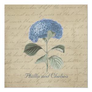 Vintage Blue Hydrangea Wedding 5.25x5.25 Square Paper Invitation Card