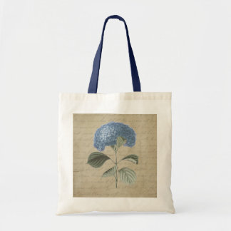 Vintage Blue Hydrangea with Antique Calligraphy Tote Bag