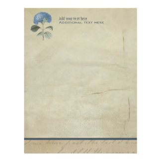 Vintage Blue Hydrangea with Antique Calligraphy Letterhead