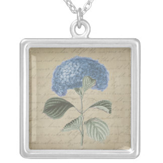 Vintage Blue Hydrangea with Antique Calligraphy Silver Plated Necklace