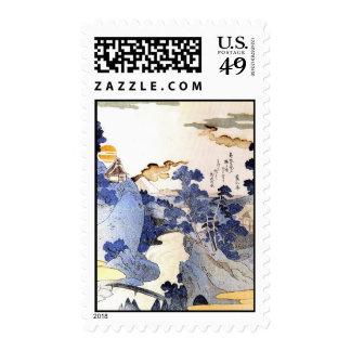 Vintage Blue Japan Woodblock Art Ukiyo-E Postage Stamps