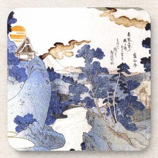 Vintage Blue Japanese Art Beverage Coaster