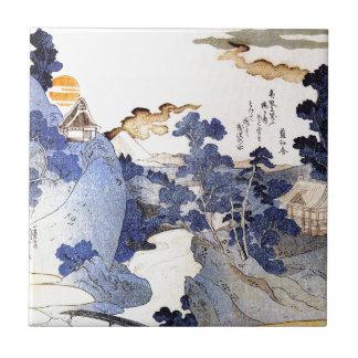Vintage Blue Japanese Art Ceramic Tile