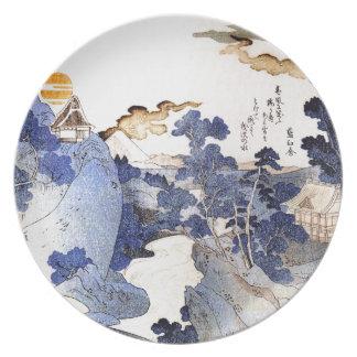 Vintage Blue Japanese Art Dinner Plates