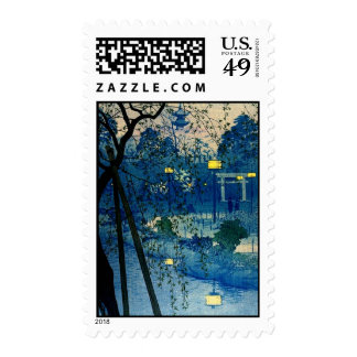 Vintage Blue Japanese Evening Woodblock Art Postage Stamps