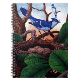 Vintage Blue Jay with nest and Eggs Print Notebook