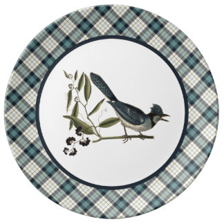 Vintage Blue Jay with Rustic Plaid Dinner Plate