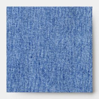 Vintage Blue Jean Print Square Envelope