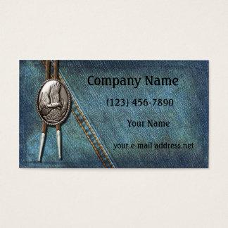 Vintage Blue Jeans Silver Bolo Business Card