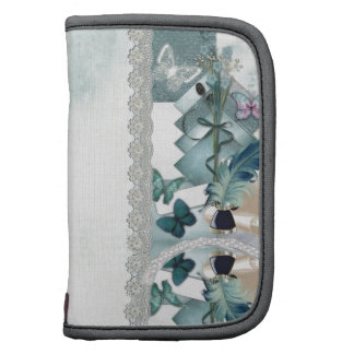 Vintage blue lace and butterfly folio planners
