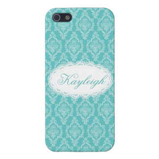 Vintage Blue Lace Damask Personalized iPhone SE/5/5s Cover