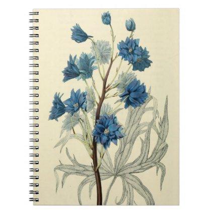 Vintage Blue Larkspur Flower Notebook