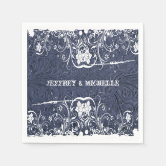 Vintage Blue Leather and Lace Personalized Standard Cocktail Napkin