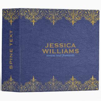 Vintage Blue Leather Texture Gold Floral Border Binder