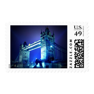 Vintage Blue London Tower Bridge Postage Stamp