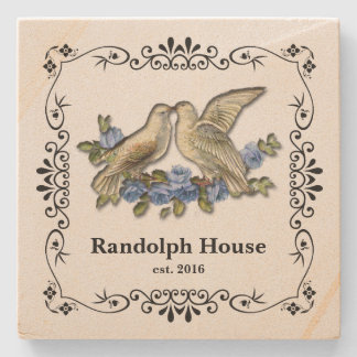 Vintage Blue Lovebirds Newlywed Personalized Stone Coaster