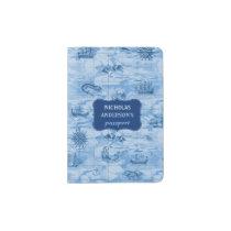 Vintage Blue Map Look Sea Monsters Ships | Custom Passport Holder