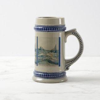 VINTAGE BLUE MERMAID OCEAN PRINT COFFEE MUG