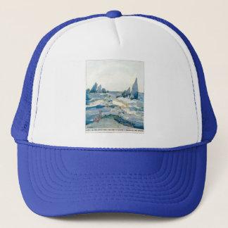 VINTAGE BLUE MERMAID OCEAN PRINT TRUCKER HAT
