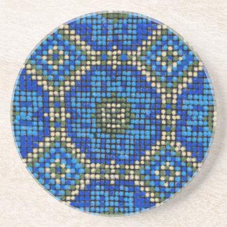 Vintage Blue Mosaic Pattern Beverage Coaster