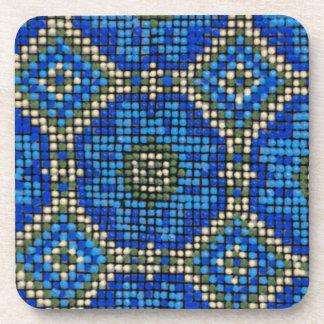 Vintage Blue Mosaic Pattern Coasters