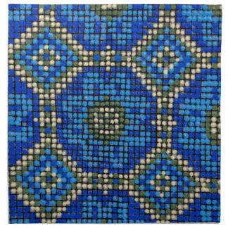Vintage Blue Mosaic Pattern Napkin