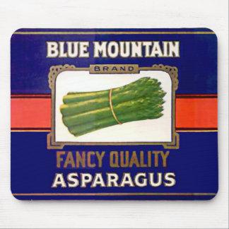 Vintage Blue Mountain Brand Asparagus Label Mouse Pad