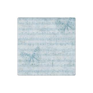 Vintage Blue Music Butterflies Stone Magnet