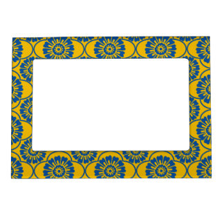 Vintage Blue, Mustard Damask Magnetic Photo Frame