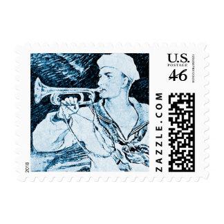 Vintage Blue Navy Soldier Trumpet Instrument Stamp