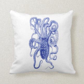 vintage blue octopus pillow