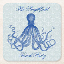 Vintage Blue Octopus with Anchors Beach Party Square Paper Coaster