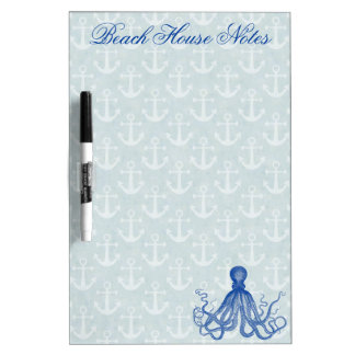Vintage Blue Octopus with Anchors Custom Dry Erase Whiteboards