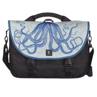 Vintage Blue Octopus with Anchors Laptop Messenger Bag