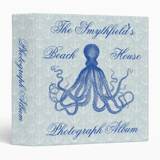 Vintage Blue Octopus with Anchors Personalized 3 Ring Binder