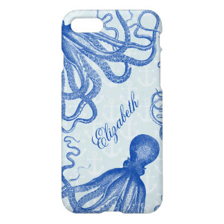Vintage Blue Octopus with Anchors Personalized iPhone 7 Case