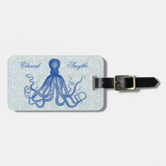Vintage Blue Octopus with Anchors Personalized Luggage Tag