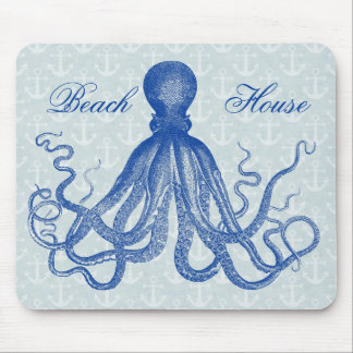 Vintage Blue Octopus with Anchors Personalized Mouse Pad