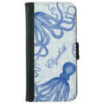 Vintage Blue Octopus with Anchors Personalized