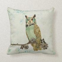 Vintage  Blue Owl  Mojo Pillow