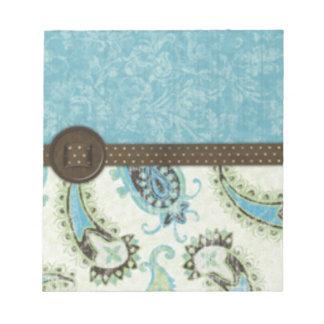Vintage Blue Paisley Memo Note Pad