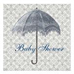 Vintage Blue Parasol Damask Baby Boy Shower Invitations