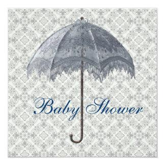 Vintage Blue Parasol Damask Baby Boy Shower 5.25x5.25 Square Paper Invitation Card